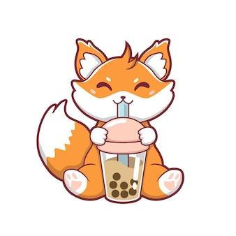 Illustratie van schattige vos die boba-ijs vectorontwerp drinkt