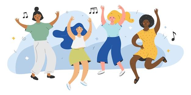 Illustratie van schattige vrouwelijke personages dansen op de muziek