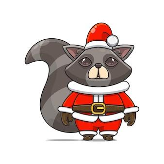 Illustratie van schattige wasbeermascotte met kostuum voor kerstmis