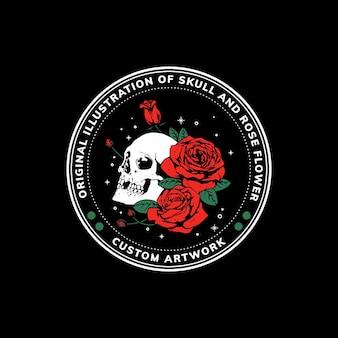 Illustratie van schedel en bloem