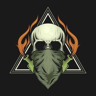 Illustratie van schedel hoofdmasker en molotov-cocktailfles met vuurontwerp