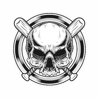 Illustratie van schedelhoofd met cirkel en honkbalknuppels realistisch ontwerp