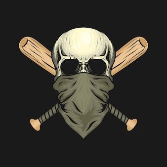 Illustratie van schedelhoofd met masker en houten vleermuizenontwerp