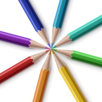 Illustratie van scherpe kleurpotloden gerangschikt