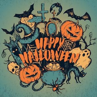 Illustratie van schets halloween karakters met heksenhoed