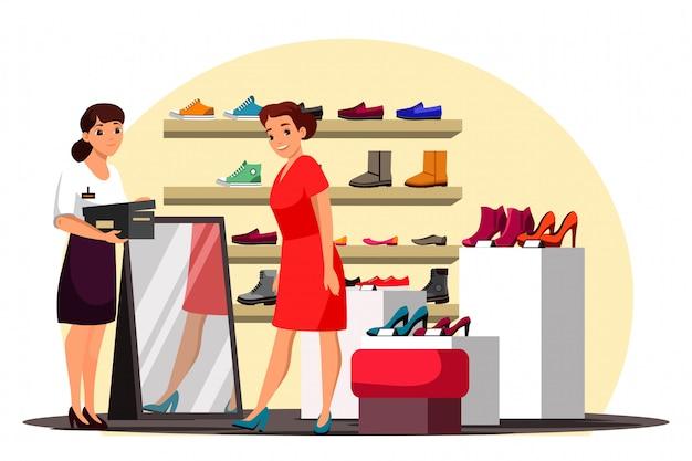Illustratie van schoenenwinkelscène met vrouwelijke klant en verkoopadviseur