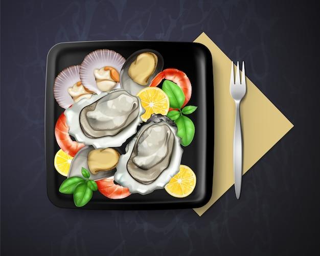 Illustratie van schotel met sint-jakobsschelpen van oesters, mosselen