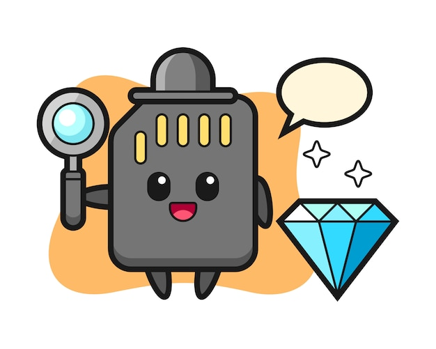 Illustratie van sd-kaartkarakter met een diamant, leuk stijlontwerp voor t-shirt