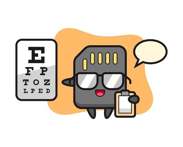 Illustratie van sd-kaartmascotte als oogheelkunde, leuk stijlontwerp voor t-shirt