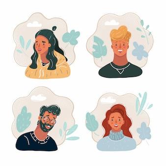 Illustratie van set van mensen geconfronteerd met pictogrammen