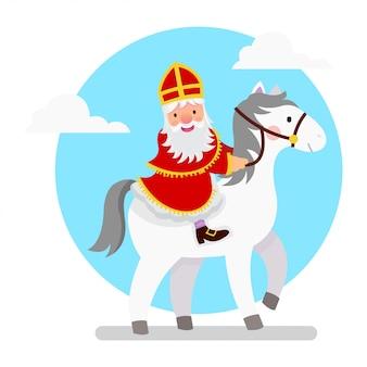 Illustratie van sinterklaas die zijn paard berijdt