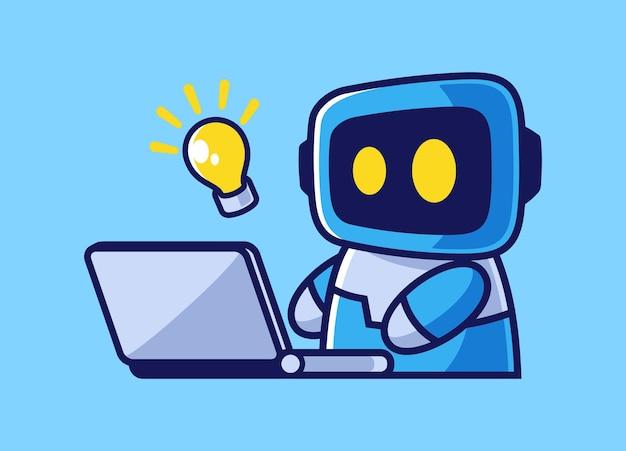 Illustratie van slimme robot die op laptop werkt
