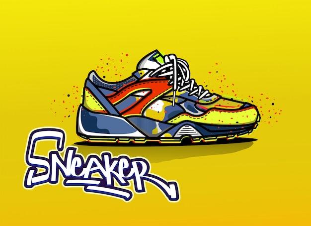 Illustratie van sneaker in kleur