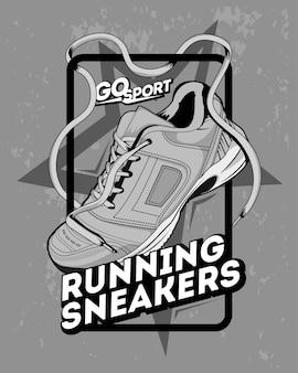 Illustratie van sneakers, ga sporten