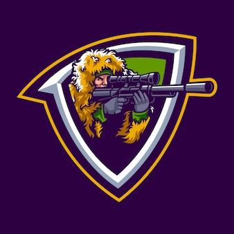 Illustratie van sniper mascotte