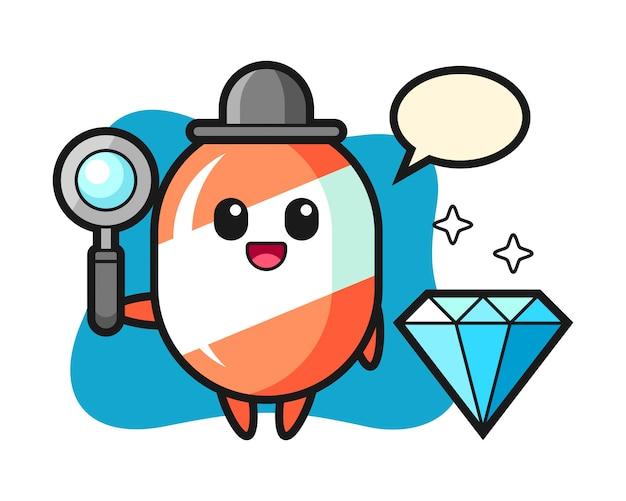 Illustratie van snoep karakter met een diamant