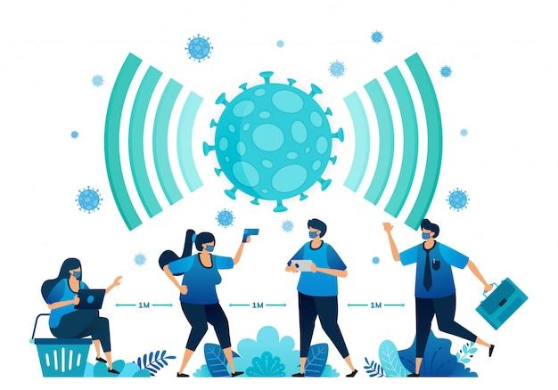 Illustratie van sociale distantiëring en nieuwe normale protocollen voor werk en activiteiten tijdens een pandemie.