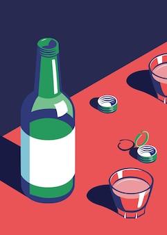 Illustratie van soju alcoholische drank glazen fles en cup
