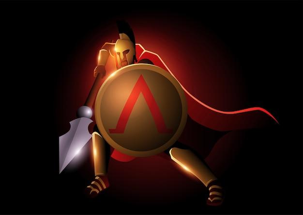 Illustratie van spartaanse krijger met zijn speer en schild