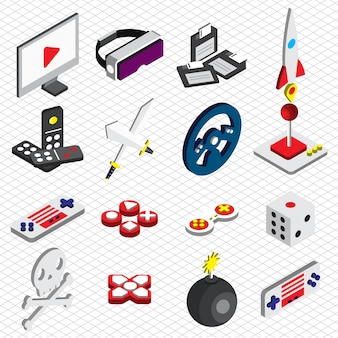 Illustratie van spel iconen instellen concept in isometrische grafische