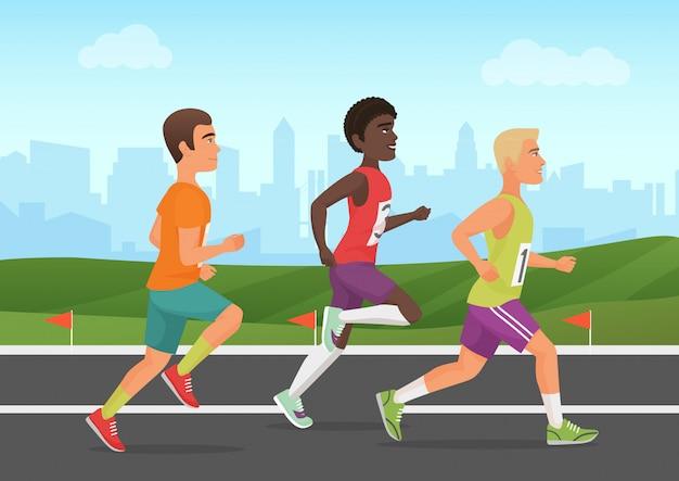Illustratie van sportmannen die op stadion lopen. lopers mensen.