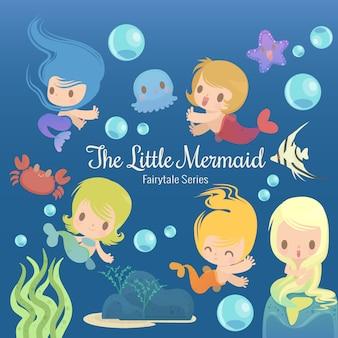 Illustratie van sprookjesachtige serie de kleine zeemeermin