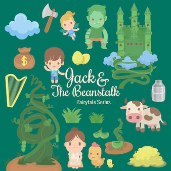 Illustratie van sprookjesachtige serie jack en de bonenstaak