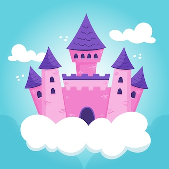 Illustratie van sprookjeskasteel in wolken
