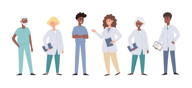 Illustratie van staande europese, afrikaanse artsen en verpleegsters geïsoleerd op wit, medisch team concept