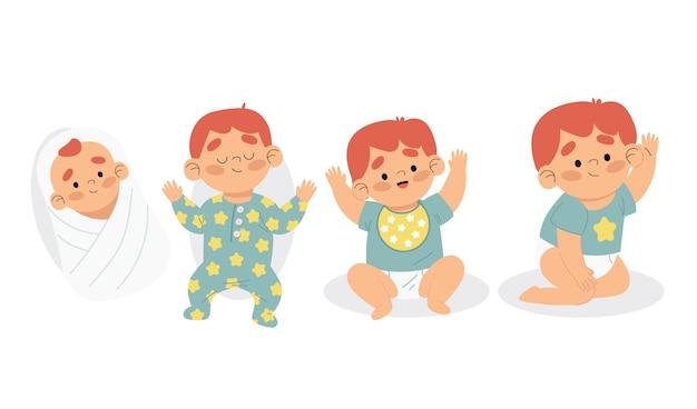 Illustratie van stadia van een babyjongen