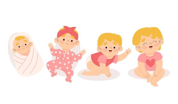 Illustratie van stadia van een babymeisje