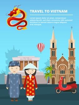 Illustratie van stedelijk landschap met oriëntatiepunten en symbolen van vietnam.