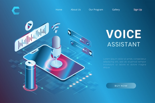 Illustratie van stemassistent en stemherkenning, opdrachtbesturingssysteem in isometrische 3d-stijl
