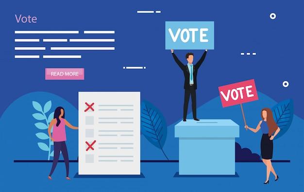 Illustratie van stemmen met mensen uit het bedrijfsleven