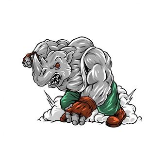 Illustratie van sterk woedend neushoornkarakter