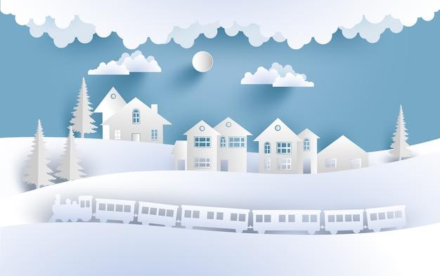 Illustratie van stoomtrein in de winter en sneeuw. er zijn huizen in de prachtige heuvels. ontwerp papier kunst en ambachten