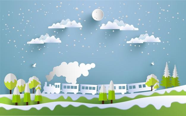 Illustratie van stoomtrein in de winter met ontwerp van papier kunst en ambacht
