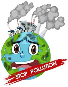 Illustratie van stop vervuiling met wereld huilen