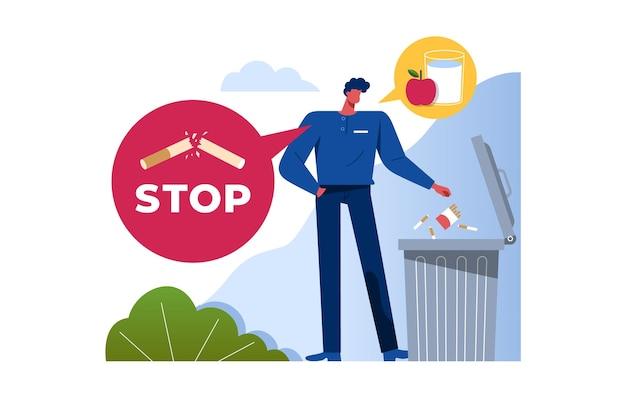 Illustratie van stoppen met roken concept