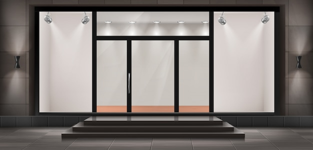 Illustratie van storefront met trappen en toegangsdeur, met glas verlichte vitrine