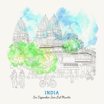Illustratie van straat in delhi, india. uitzicht op de straat van india in de oude stad.