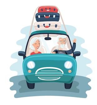 Illustratie van stripfiguur op hogere leeftijdsreizigers met vintage oude auto met bagage bovenop.