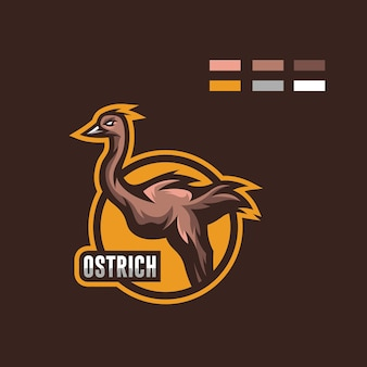 Illustratie van struisvogelmascotte