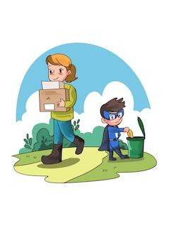 Illustratie van super held jongen die vrouwen helpt