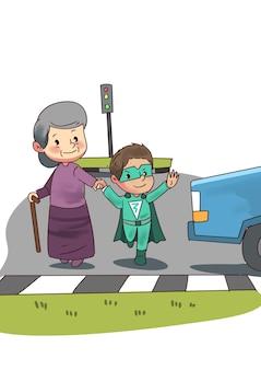 Illustratie van super held jongen helpt oude dame om de straat over te steken