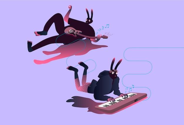 Illustratie van surrealistische muzikanten