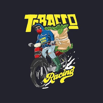 Illustratie van tabaksbladerenboer die oogst vervoert met motorfietsontwerpsjabloon