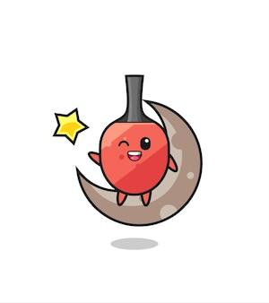 Illustratie van tafeltennis racket cartoon zittend op de halve maan, schattig stijlontwerp voor t-shirt, sticker, logo-element