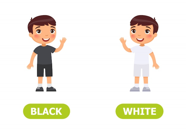 Illustratie van tegenstellingen. kleine jongen in zwart en in witte clothes.card voor het onderwijzen van hulp, voor het leren van een vreemde taal