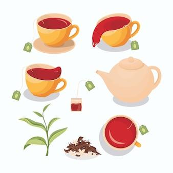 Illustratie van thee in een kopje, gemorste thee, theezakje, theepot, groene theebladeren en droge thee met jasmijn
